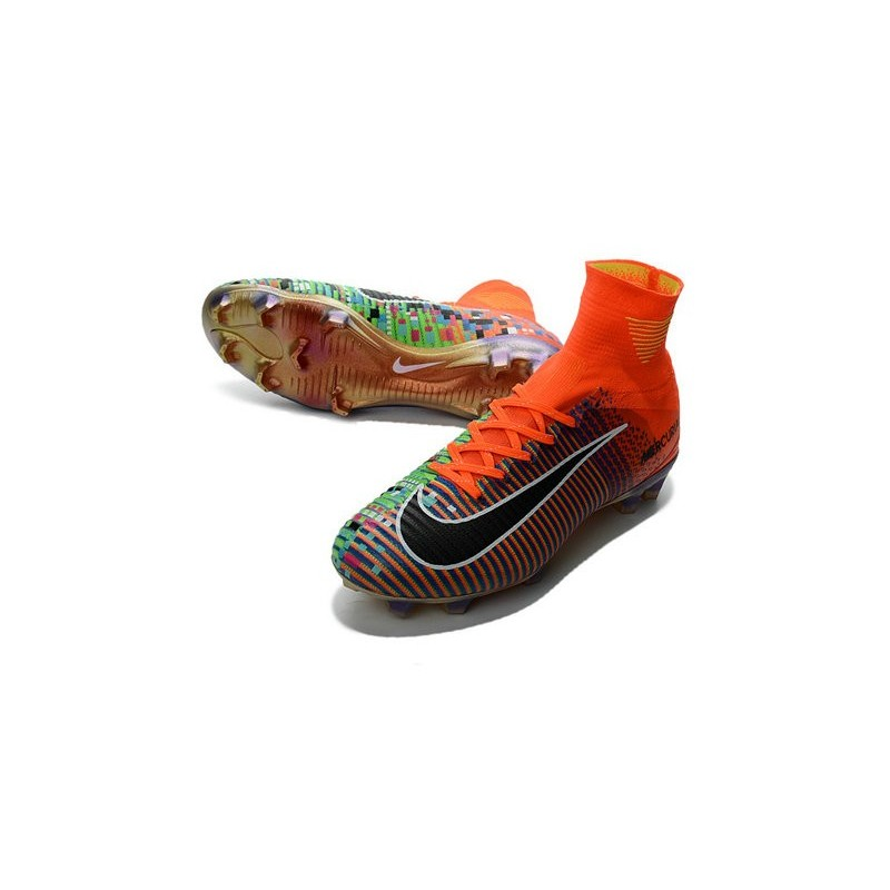 new arrival 3a885 a76b0 Nike Mercurial Superfly V FG - EA Sports Crampon de Foot - Orange Vert Noir