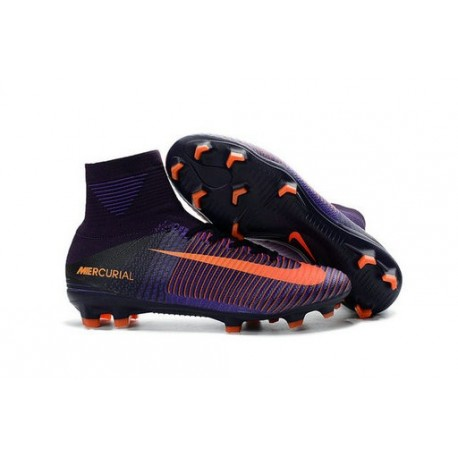 Chaussure de Football à Crampons - Nike Mercurial Superfly 5 FG - Violet Orange
