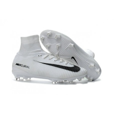 Chaussures Football Nouvelles Nike Mercurial Superfly V FG ACC - Blanc Noir