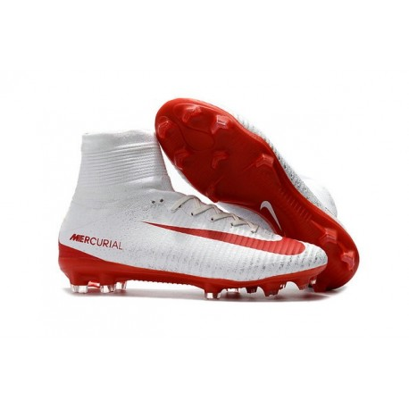 Chaussures Football Nouvelles Nike Mercurial Superfly V FG ACC - Blanc Rouge